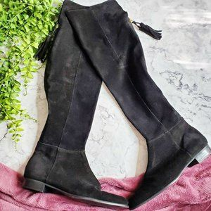 Zara Black Suede Leather Over the Knee Tassel Boot